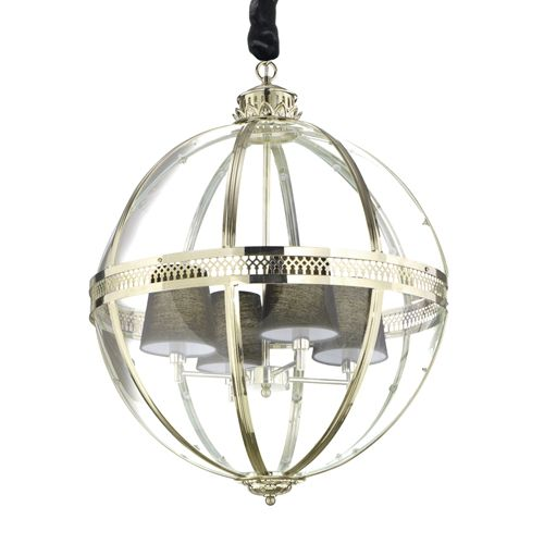 Ideal Lux 156330 World 4Lt Antique Brass Ceiling Globe Pendant