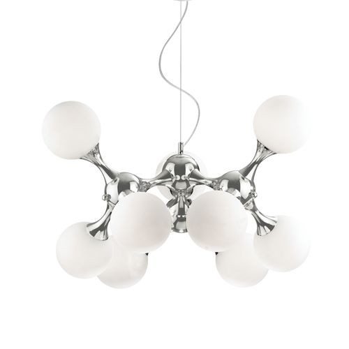 Ideal Lux 082059 Nodi Bianco 9Lt Chrome Ceiling Pendant