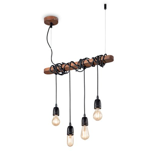 Ideal Lux 176352 Electric 4Lt Corten Weathered Steel Ceiling Bar Pendant