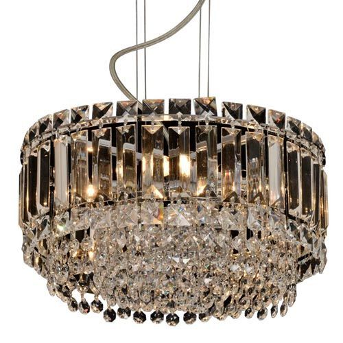 Impex CFH606071/ROU/S/CH Alvery 5Lt Polished Chrome Clear Crystal Round Ceiling Pendant
