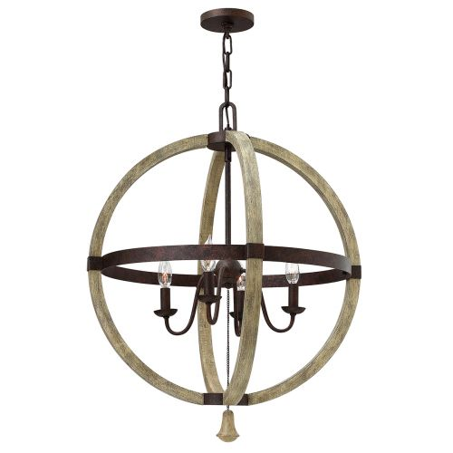 Hinkley Middlefield 4lt Chandelier Iron Rust ELS/HK/MIDDLEFIELDP4 Circular Frame Distressed Wood