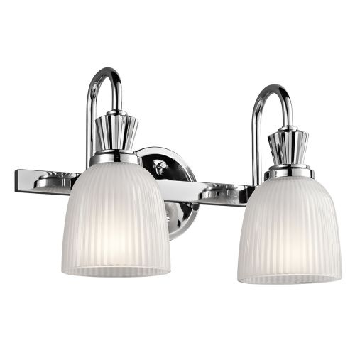 Kichler Cora 2lt Bathroom Wall Light Polished Chrome ELS/KL/CORA2 BATH