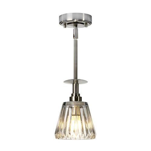 Elstead Agatha 1Lt LED IP44 Bathroom Pendant Light Brushed Nickel BATH/AGATHA1P BN