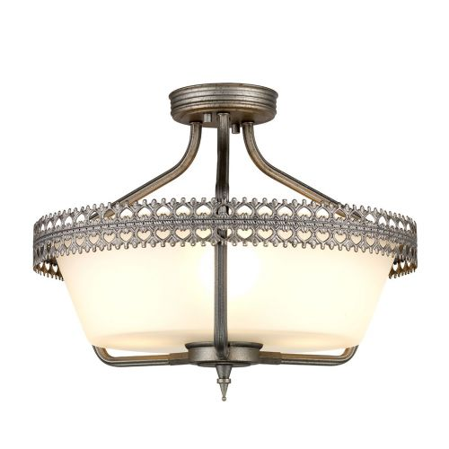 Elstead Crown 3Lt Semi-Flush Pendant Light Iron Gate CROWN/SF