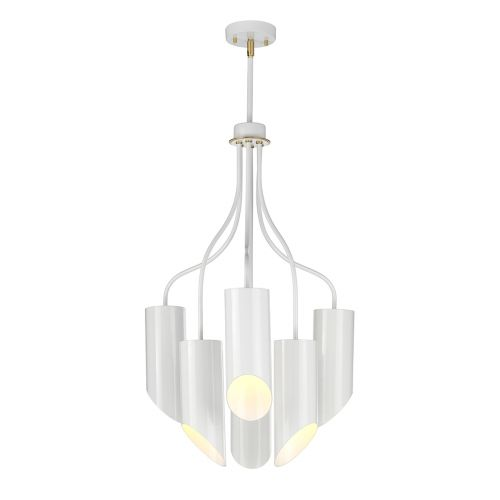 Elstead Quinto 6Lt Chandelier White Aged Brass QUINTO6 WAB