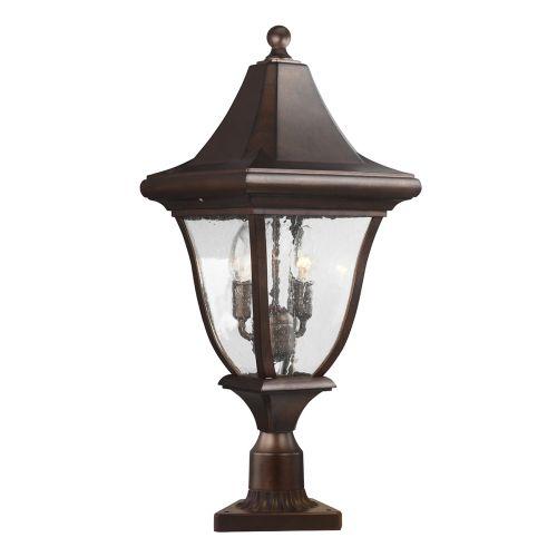 Feiss Oakmont Outdoor Medium Pedestal Lantern Patina Bronze FE/OAKMONT3/M