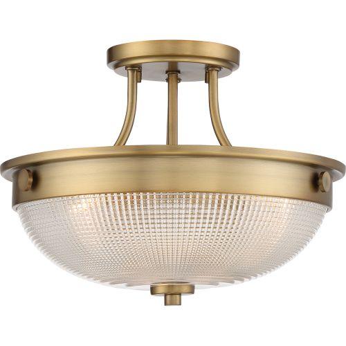 Quoizel Mantle 2Lt Semi-Flush Ceiling Light Weathered Brass QZ/MANTLE/SF WS