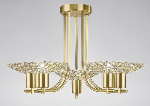 Diyas IL20602 Ellen Semi-Flush Ceiling Fitting 5 Light Satin Brass Crystal
