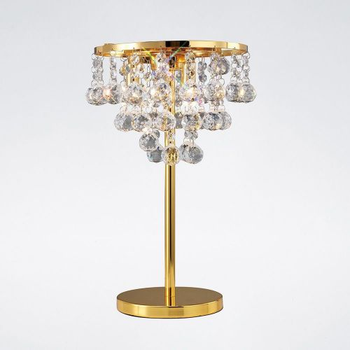 Diyas IL30031 Atla Table Lamp 3 Light French Gold/Crystal