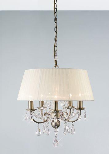 Diyas IL30048 Olivia Pendant Ivory Cream Shade 5 Light Antique Brass Crystal