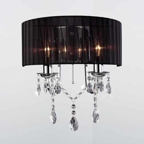 Diyas IL30061 Olivia Wall Light Switched Black Shade 2 Light Polished Chrome Crystal