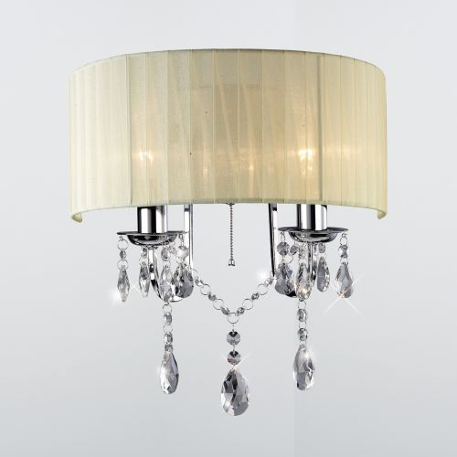 Diyas IL30061 Olivia Wall Light Switched Ivory Cream Shade 2Lt Polished Chrome Crystal