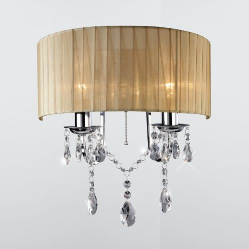 Diyas IL30061 Olivia Wall Light Switched Soft Bronze Shade 2Lt Polished Chrome Crystal