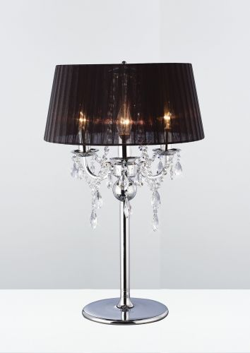 Diyas IL30062 BL Olivia Table Lamp Black Shade 3 Light Polished Chrome Crystal