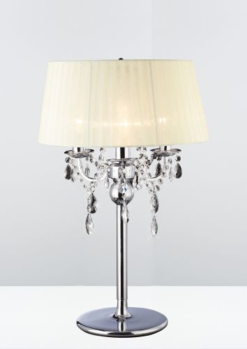 Diyas IL30062 Olivia Table Lamp Ivory Cream Shade 3 Light Polished Chrome Crystal
