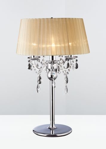 Diyas IL30062 Olivia Table Lamp Soft Bronze Shade 3 Light Polished Chrome Crystal