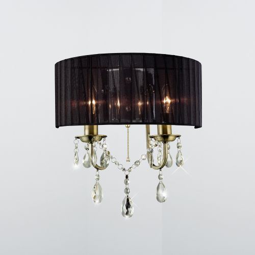 Diyas IL30064 Olivia Wall Light Black Shade 2 Lt Antique Brass Crystal