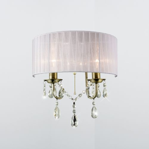 Diyas IL30064 Olivia Wall Light Switched White Shade 2 Lt Antique Brass Crystal