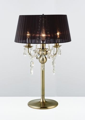 Diyas IL30065 Olivia Table Lamp Black Shade 3 Light Antique Brass Crystal