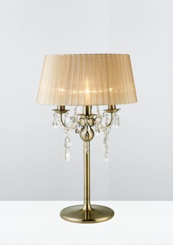 Diyas IL30065 Olivia Table Lamp Soft Bronze Shade 3 Light Antique Brass Crystal