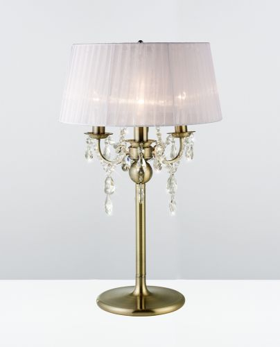 Diyas IL30065 Olivia Table Lamp White Shade 3 Light Antique Brass Crystal