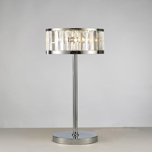 Diyas IL30176 Torre Crystal 3 Light Table Lamp Polished Chrome Frame