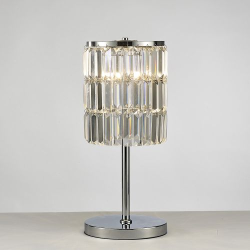 Diyas IL30178 Torre Crystal Curtain 3 Light Table Lamp Polished Chrome Frame