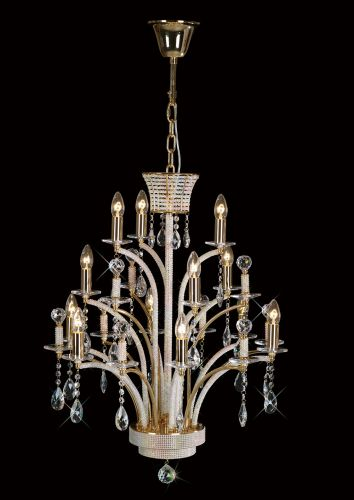 Diyas  Orlando 12 Light Pendant  French Gold/Crystal IL30380 (ITEM REQUIRES ASSEMBLY)