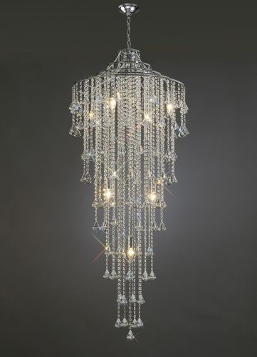 Diyas Inina  9 Light Tall Pendant Polished Chrome/Crystal IL30775