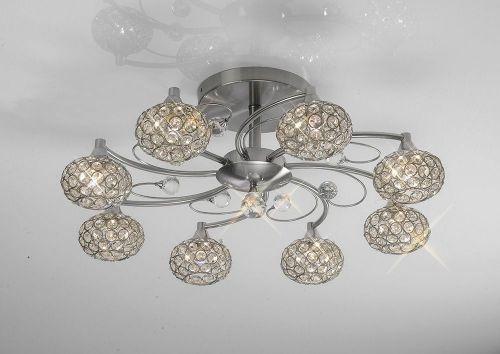 Diyas IL30938 Cara Semi Flush Ceiling 8 Light Satin Nickel Crystal