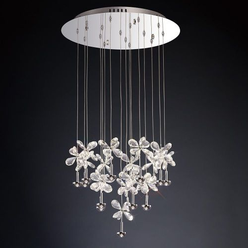 Diyas IL31146 Aviva LED Crystal Pendant 16 Light 4000K Polished Chrome Frame