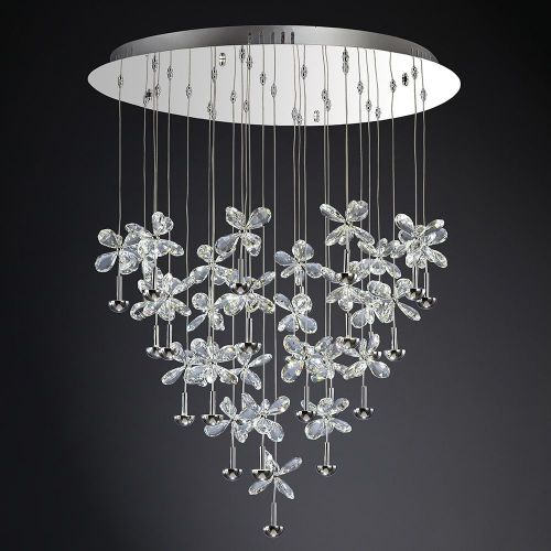 Diyas IL31147 Aviva LED Crystal Pendant 28 Light 4000K Polished Chrome Frame