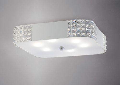 Diyas IL31192 Denver Large Crystal Ceiling Flush 6 Light White Frame