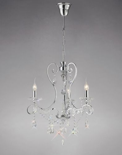 Diyas IL31363 Vela Crystal 3 Light Pendant Polished Chrome Frame