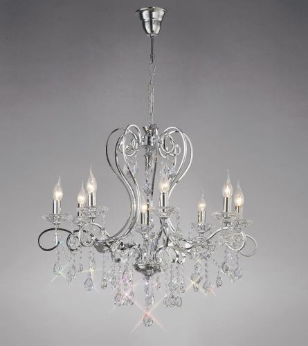 Diyas IL31368 Vela Crystal 8 Light Pendant Polished Chrome Frame