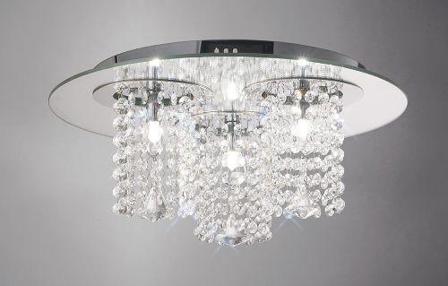 Diyas IL31465 Pegasus Crystal Ceiling Flush 3 Light Chrome Mirror Polished Chrome Frame