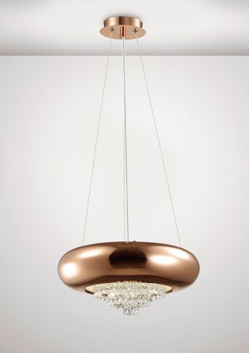 Diyas IL31562 Phyllis Large Pendant 3 Light G9 Polished Copper Crystal