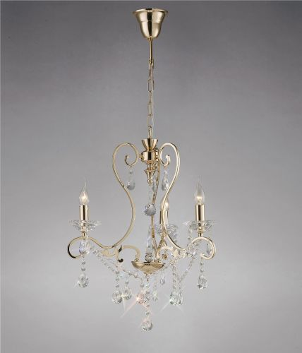 Diyas IL32063 Vela Crystal 3 Light Pendant French Gold Frame
