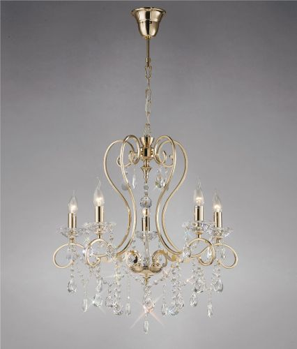 Diyas IL32065 Vela Crystal 5 Light Pendant French Gold Frame