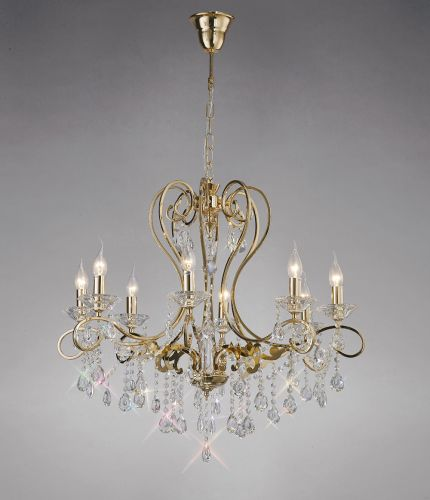 Diyas IL32068 Vela Crystal 8 Light Pendant French Gold Frame