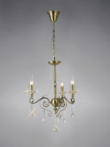 Diyas IL32073 Libra Pendant 3 Light Antique Brass Crystal