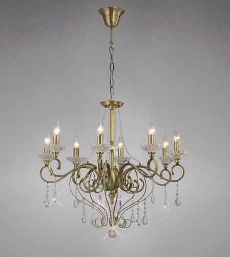 Diyas IL32078 Libra Pendant 8 Light Antique Brass Crystal