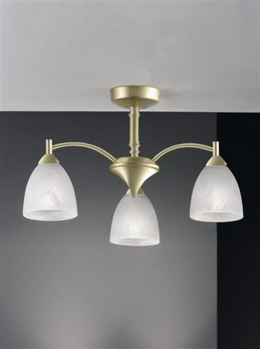 Semi-Flush Ceiling 3 Light Fitting Matt Gold Alabaster Shade Harriet LEK61169