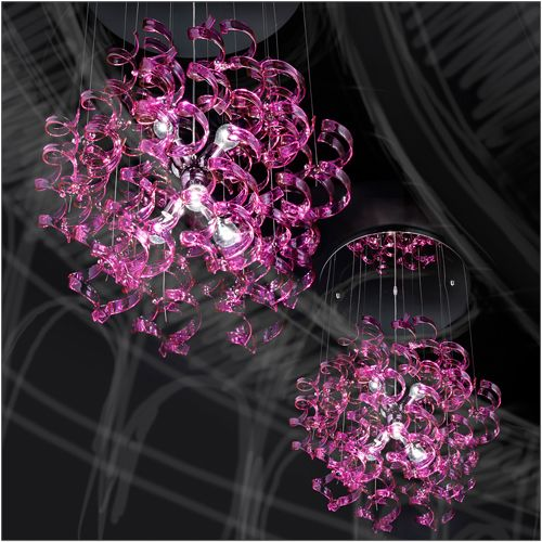 Metal Lux Astro 6 Light Magenta Glass Pendant 206.175.11