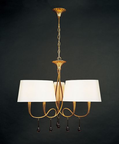 Mantra M0540 Paola Pendant 3 Arm 6 Light E14 Gold Painted Cream Shades Amber Glass Droplets