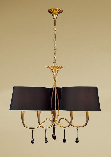 Mantra M0540 BS Paola Pendant 3 Arm 6 Light E14 Gold Painted Black Shades Amber Glass Droplets