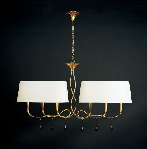 Mantra M0541 Paola Pendant 2 Arm 6 Light E14 Gold Painted Cream Shades Amber Glass Droplets