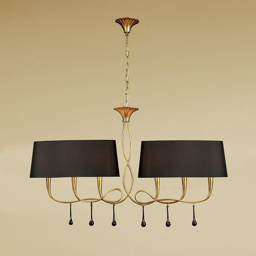 Mantra M0541 BS Paola Pendant 2 Arm 6 Light E14 Gold Painted Black Shades Amber Glass Droplets