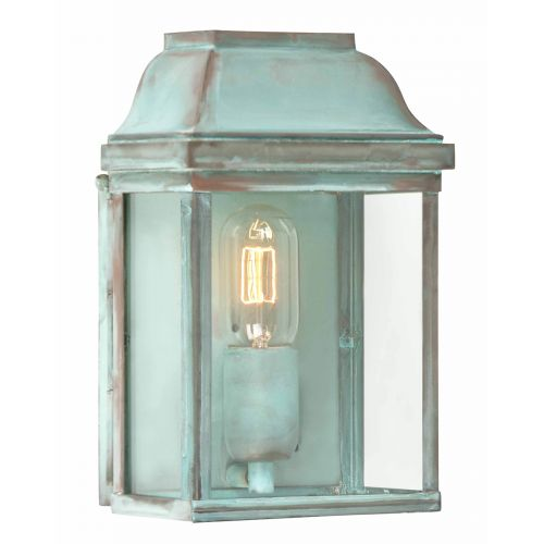 Elstead Victoria Outdoor Wall Lantern Solid Brass Verdigris