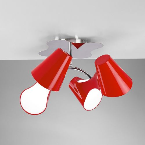 Mantra M1565 Ora Ceiling Fitting 4 Light Red Gloss Acrylic Polished Chrome